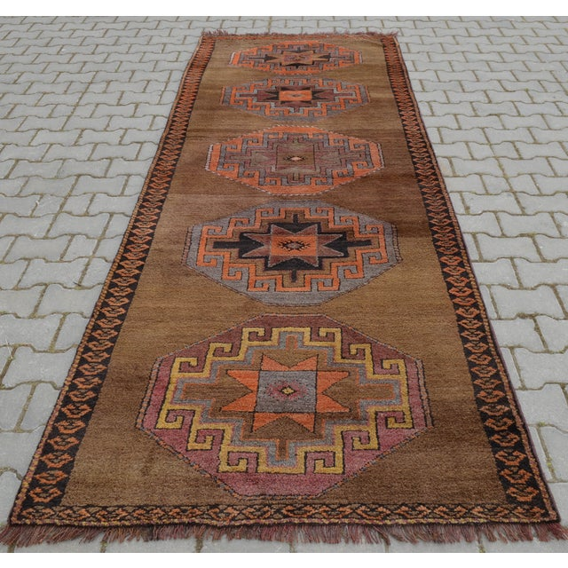 Hand Knotted Turkish Runner Rug - 3′11″ × 10′9″ - Image 5 of 10