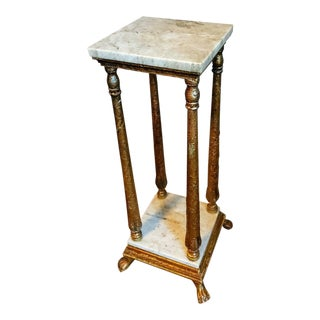 Antique Continental Gilded Marble-Top Pedestal Table For Sale