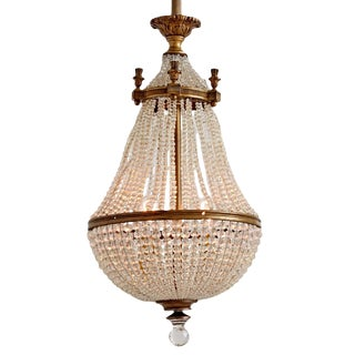 Classical Revival Crystal Basket Chandelier W/ Faceted Finial Circa 1920s