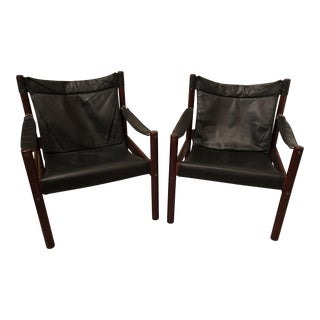 1970s Vintage Swedish Johanson Design Mahogany Leather Safari Chairs- a Pair For Sale