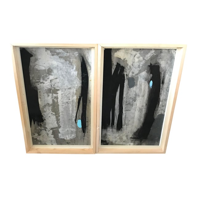 1960s Vintage Graham Harmon Abstract Black and White Paintings - a Pair For Sale