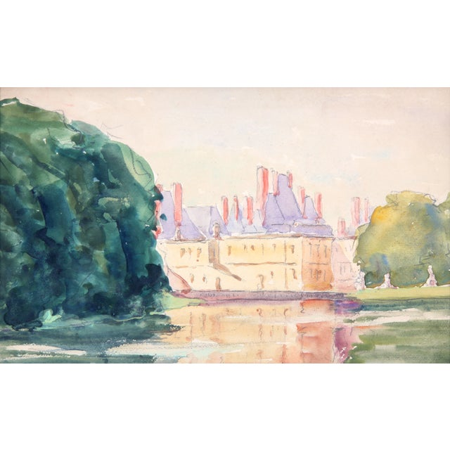 """Chateau in France"" Watercolor Painting - Image 2 of 4"