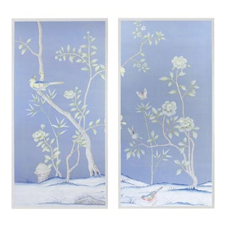 """Jardins en Fleur """"Furness"""" Chinoiserie Hand-Painted Silk Diptych by Simon Paul Scott in White Frame - a Pair For Sale"""