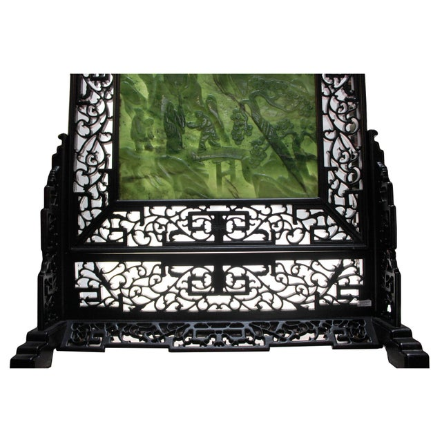 Engraving Chinese Vintage Spinach Green Stone Scenery Carving Table Top Wall Panel Displa For Sale - Image 7 of 13