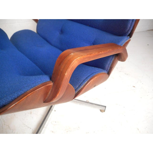 Vintage Modern Eames Style Swivel Lounge Chair and Ottoman For Sale - Image 11 of 13
