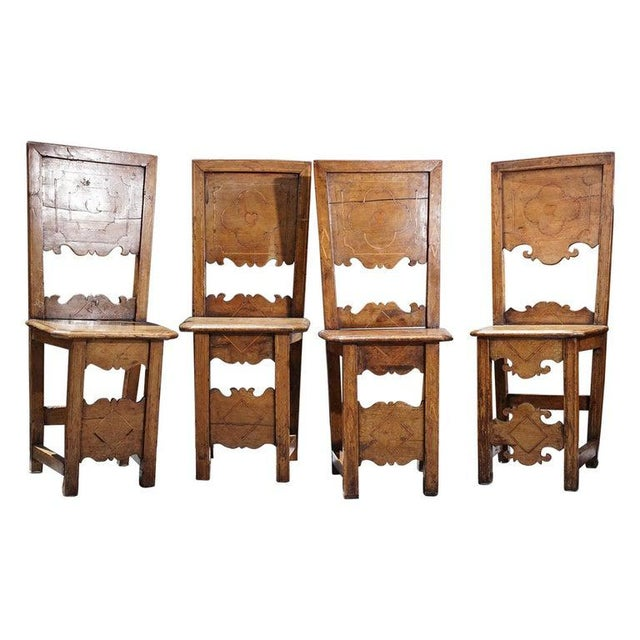Group of Four 18th Century Inlaid Walnut Side Chairs For Sale In Los Angeles - Image 6 of 6