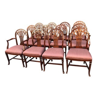 Set of 12 Maitland-Smith Georgian Mahogany Dining Chairs For Sale
