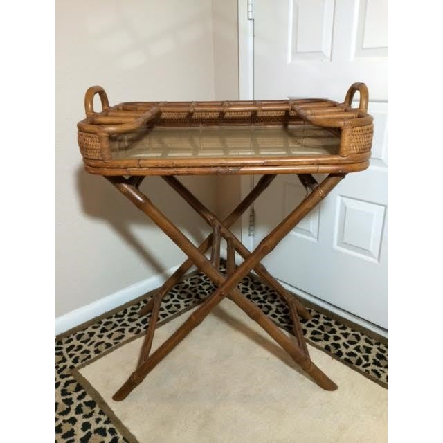 Vintage Rattan Folding Mini Bar - Image 2 of 8