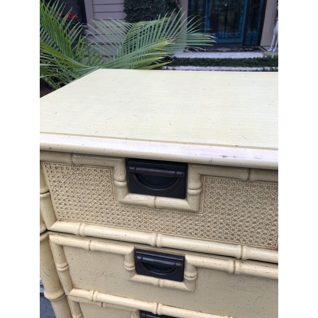 Stanley Yellow Faux Bamboo Dresser For Sale - Image 10 of 13