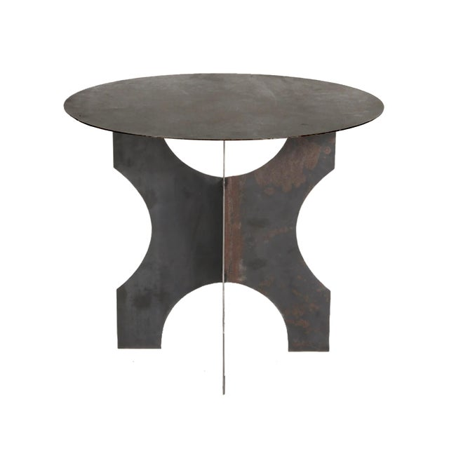 Brutalist Modern Steel Round Table For Sale - Image 3 of 8
