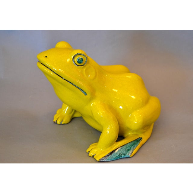 Italian Neon Yellow & Green Ceramic Pottery Fountain Frog Outdoor Sculpture For Sale - Image 13 of 13