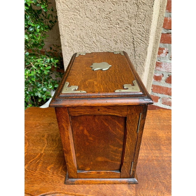 Antique English Tiger Oak Pipe Smoke Cabinet Card Game Box Humidor Lift Top For Sale - Image 11 of 13
