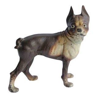 Antique Cast Iron Boston Terrier Dog Doorstop For Sale