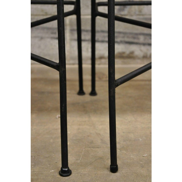 Mid Century Modern Arthur Umanoff Wrought Iron and Rattan Bar and Bar Stools- 3 Pieces For Sale - Image 9 of 13