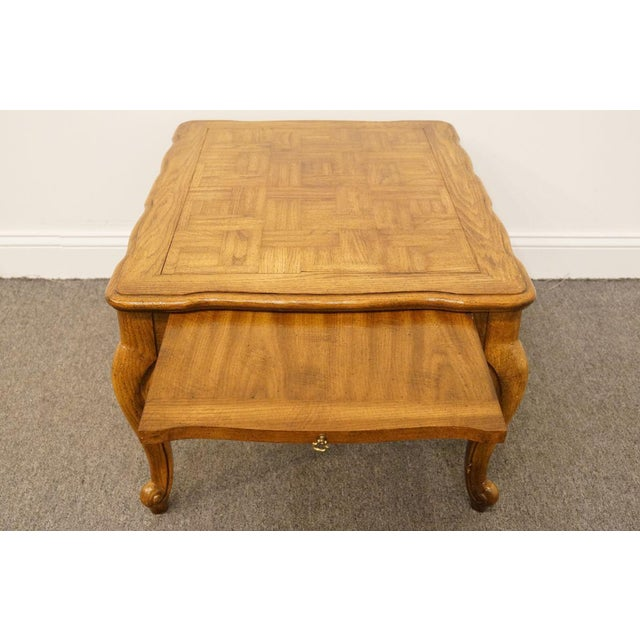Late 20th Century Weiman Furniture Country French Parquet Top Coffee Table For Sale - Image 5 of 12