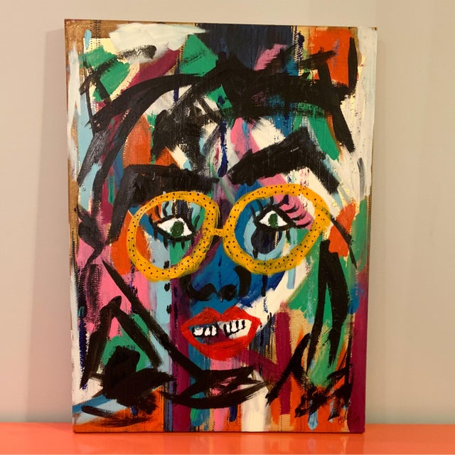 Abstract Contemporary Abstract Face Painting For Sale - Image 3 of 3