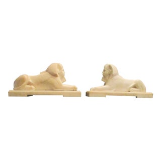 Antique White Marble Handcarved Egyptian Sphinxs - a Pair For Sale