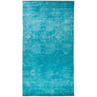 "Turqouise Over Dyed Hand Knotted Wool Rug- 6' 1"" X 12' 1"""