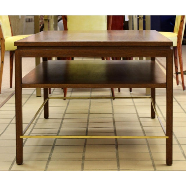 Mid Century Modern Wormley Dunbar Walnut Brass Coffee Occasional Console Table For Sale - Image 10 of 13