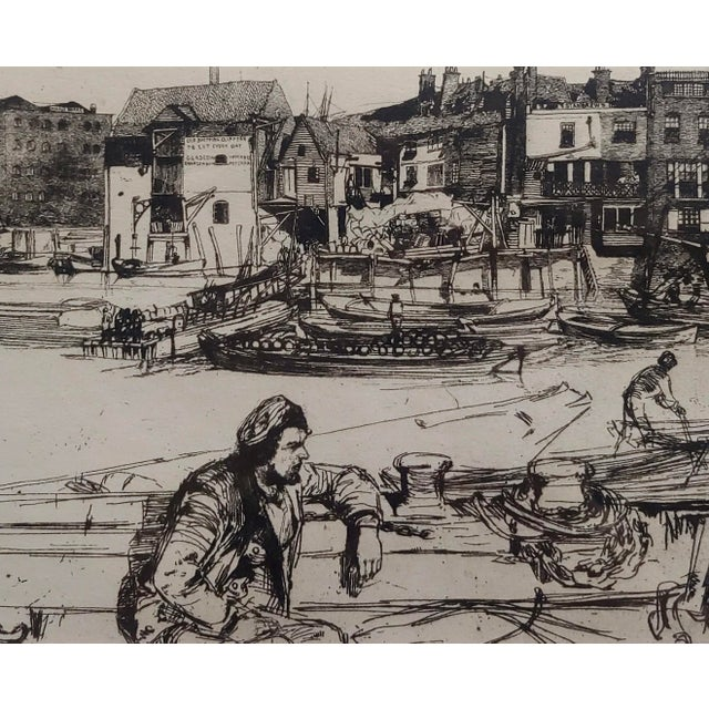 1950s 1950s Vintage Black Lion Wharf Etching on Paper by James Whistler For Sale - Image 5 of 9