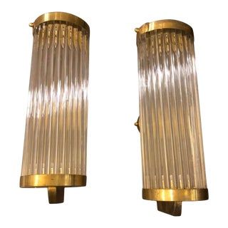 1970s Italian Mid-Century Modern Brass and Glass Wall Sconces - a Pair For Sale