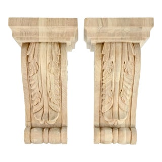 Carved Acanthus Maple Corbels - A Pair For Sale