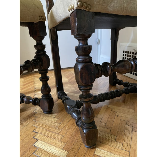 Mid 17th Century Walnut Franco Flemish Louis XIII Baroque Fireside Chairs - a Pair For Sale - Image 12 of 13