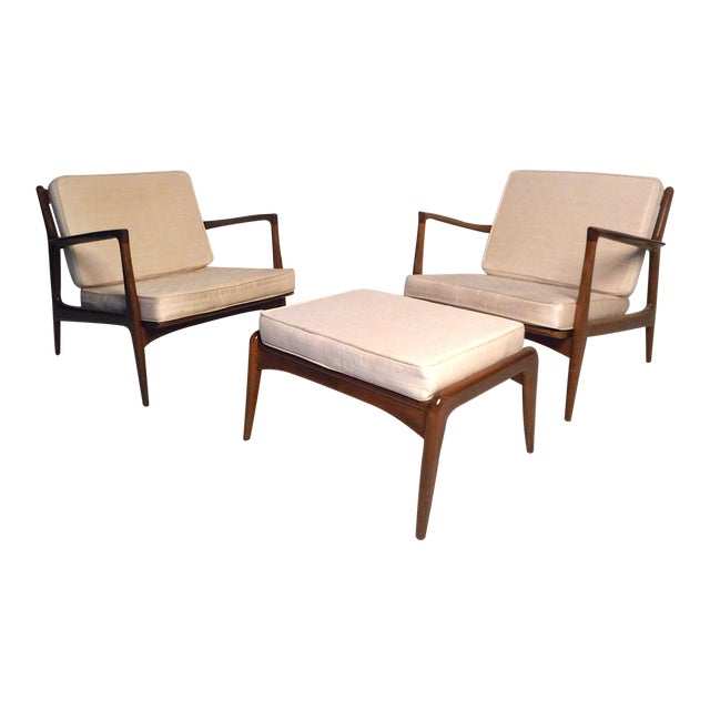 Danish Modern Lounge Chairs and Ottoman by Kofod-Larsen For Sale