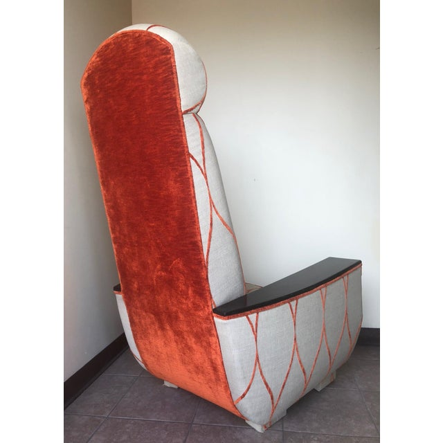 Decorative Modern Tall Back Armchair For Sale - Image 4 of 9