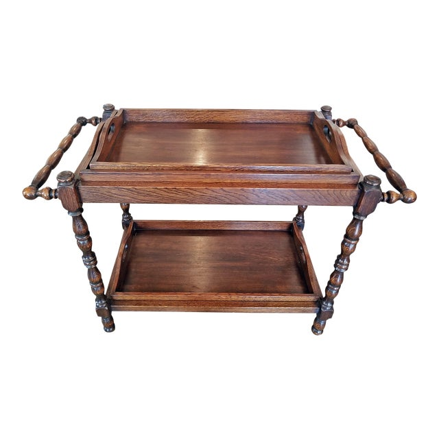 19c British Provincial Oak Butlers Tray Stand With 3 Trays For Sale