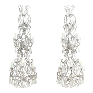 Italian Silver-Leafed Iron and Crystal Beaded Sconces - a Pair For Sale