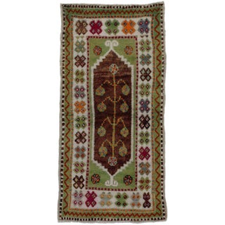 Late 20th Century Vintage Turkish Oushak Rug - 2′2″ × 4′3″ For Sale