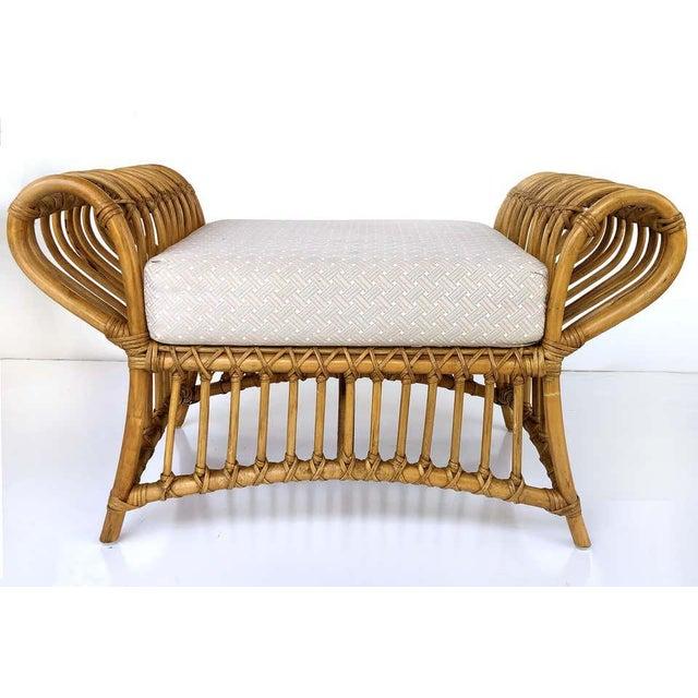Wood 1980s Franco Albini Rattan Chair and Ottoman Set For Sale - Image 7 of 12
