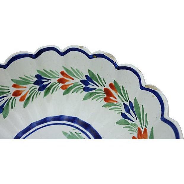Large French Quimper scalloped edge serving bowl. Maker's mark on bottom. Light wear, minor edge wear. Era: Vintage; 1920...