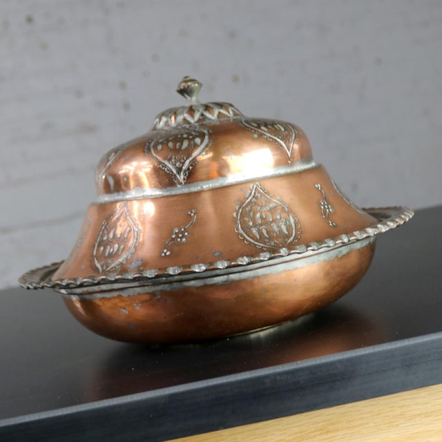 Antique Turkish Ottoman Copper Lidded Bowl Hand Forged Hand Chiseled and Tinned For Sale - Image 4 of 13