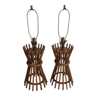 1960s Vintage Tiki Style Cane & Rattan Constructed Table Lamps - a Pair For Sale