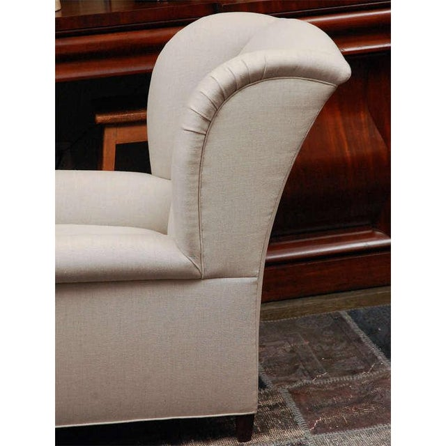 "White ""Worrell"" by Lee Stanton English Wing Chair in Belgian Linen or Custom Fabric For Sale - Image 8 of 11"