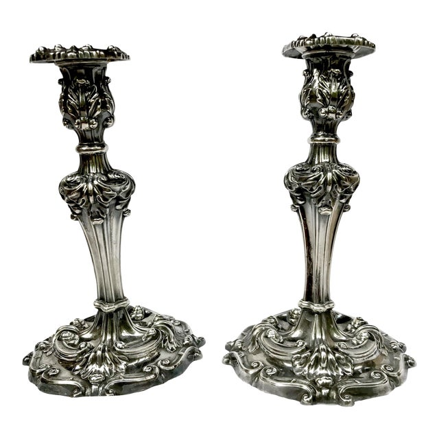 Antique Reed & Barton Silverplate Candle Holders - A Pair For Sale