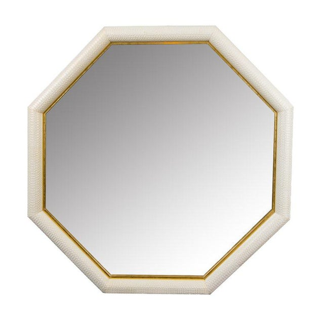 KLASP Home Python Embossed Ivory & Gold Leather Mirror For Sale - Image 4 of 4