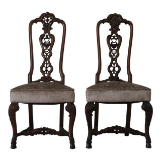 1950s Traditional Elegant Carved Mahogany/ Velvet Side Chairs - a Pair For Sale