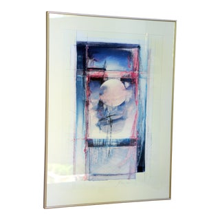 """Abstract """"Moonrise"""" Framed Mixed Media Artwork by Bruce Dow For Sale"""
