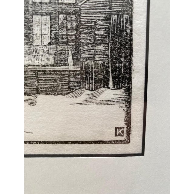 Mid 20th Century Art Deco Style Architectural Landscape Woodcut Print, Framed For Sale - Image 4 of 8