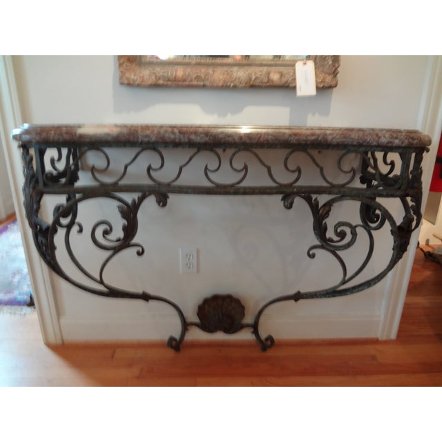 French French Regency Wrought Iron & Marble Console Table For Sale - Image 3 of 9