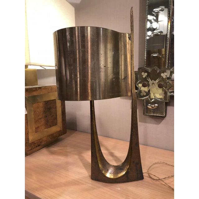 Mid-Century Modern Maison Charles Stamped Vintage Gold Bronze Lamp For Sale - Image 3 of 5