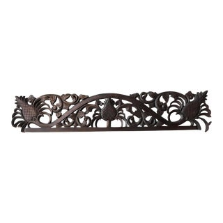 Pineapple Motif Highly Carved Wood Moulding For Sale
