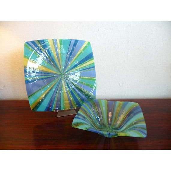 Higgins Fused Glass Tray & Bowl - A Pair For Sale - Image 11 of 11
