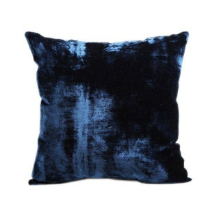 Vintage Handloomed Blue Velvet Pillows - A Pair