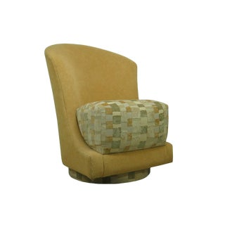 1980s Vintage Precedent Sculptural Hollywood Regency Swivel Slipper Chair For Sale