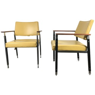 Classic Modernist Armchairs by Robert John Stainless Steel - a Pair For Sale