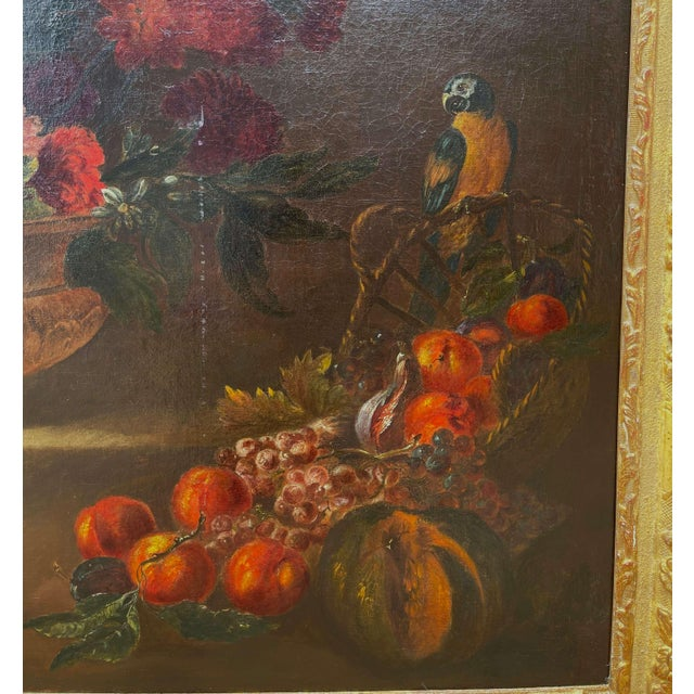 French 19th Century French Still Life Flower Oil Painting in Carved Gilt Frame For Sale - Image 3 of 13